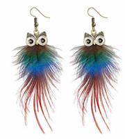 ingrosso orecchini lunghi del gufo-nuovo stile caldo europeo e americano personalità popolare piuma di pavone gufo orecchini lunghi orecchini di design della moda