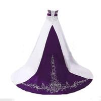 bildqualität brautkleider großhandel-REAL IMAGE Elegante Brautkleider 2019 Eine Linie Liebsten Perlenstickerei Weiß Lila Vintage Brautkleid Nach Maß Hohe Qualität