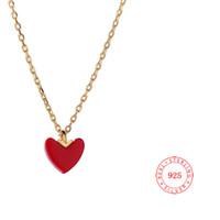 chine plaqué or 24 carats achat en gros de-Dernière Conception 925 Sterling Silver Heart Pendentif Collier Chine rouge coeur coeur collier 24k plaqué or bijoux de mode