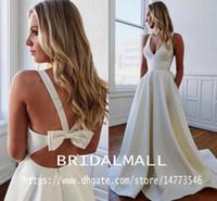 Wholesale light tie for sale - Group buy Ivory Satin A Line Wedding Dresses With Pockets Elegant V Neck Beach Bridal Gowns Back Bow Tie Simple Bohemian Bride Dress Vestidos De Novia