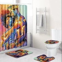 Wholesale sexy women shower resale online - Bathroom Sets Sexy Men And Women Bathroom Decoration Shower Curtain Carpet Rug Set Non slip Mat Absorbent Foot Pad Egyptian style