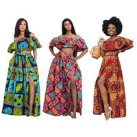 seksi kıyafet toptan satış-Yeni Afrika kıyafetleri kadınlar seksi uzun iki parçalı etek set Nijeryalı casual parti elbise gece kulübü kapalı omuz elbiseler max yaz