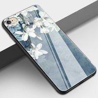 iphone espejo de vidrio electrochapa al por mayor-NUEVO para iPhone X funda 7P espejo electrochapado funda de protección de borde vidrio templado carcasa del teléfono móvil para iphone 6 7 8 XS funda