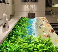 pisos de vinilo verde al por mayor-Custom 3D Floor Mural Wallpaper Green leaf seaside beach conch Beach Baño Floor Mural PVC Impermeable Autoadhesivo Vinyl Wallpaper Decoración para el hogar