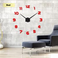 envío gratis reloj acrílico al por mayor-Envío gratis nuevo reloj reloj relojes de pared Horloge 3d diy acrílico espejo pegatinas decoración del hogar sala de estar aguja de cuarzo