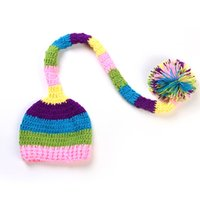 Wholesale long tail knit baby hat resale online - Crochet Baby Cap Knitting Baby Long Tails Hat Kids Handmade Baby Hats Beanies month Handmade Bonnet Photography