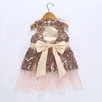habille petite fille mois achat en gros de-Belle 3-6-9-12 mois petites filles paillettes paillettes robe de bal maille robe de soirée robe sans manches Dropshipping
