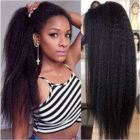 Wholesale straight human hair wigs online - 10A Yaki Human Hair Lace Front Wigs Brazilian Hair Kinky Straight lace front wigs Swiss Lace Cap Bleached Knots