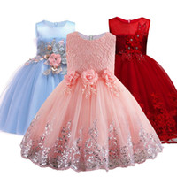 Wholesale children wedding clothes for girls for sale - Group buy 2019 Lace Sequins Formal Evening Wedding Gown Tutu Princess Dress Flower Girls Children Clothing Kids Party For Girl Clothes