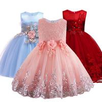 blumenmädchenkleid abendkleid großhandel-2019 spitze Pailletten Formale Abendkleid Brautkleid Tutu Prinzessin Kleid Blume Mädchen Kinder Kleidung Kinder Party Für Mädchen Kleidung