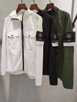 mangas de nylon al por mayor-moda Newes marca Diseñador hombre chaqueta moda metal metal chaqueta cortaviento chaqueta de manga larga Abrigo M-- 2XL