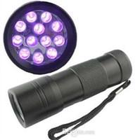 12 luzes led uv venda por atacado-395-400NM Ultra Violet Luz UV Mini Portátil 12 LED UV Lanterna Tocha Escorpião Detector Localizador de luz Preta (UV-12)