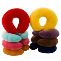 Wholesale travel pillows online - Solid U Shaped Pillow Soft Plush Vehicular Neck Throw Pillow Toys Nap For Travel Rest Student Adult Kids Christmas Gifts MMA1368