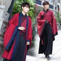 trajes chineses pretos venda por atacado-Hanfu Antigo Traje Chinês Vermelho Tops Casaco Saias Pretas Homens Hanfu Chinês Tradicional Vestuário Masculino Trajes de Desempenho DN2566