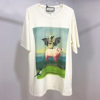 ingrosso t-shirt pipistrelli-2019 Bat Pig Stampa Tee Summer Made In Italy Moda Uomo High Quality Beige Tshirt in cotone colorato Casual Tee T-shirt donna HFLSTX388