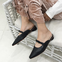 бежевые низкие каблуки оптовых-Mules Women Bow knot low heels Slippers  closed toe shoes  Slip on Slides zapatos mujer black beige apricot