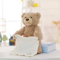ingrosso peek boo giocattoli-New Peek a Boo Teddy Bear Gioca a nascondino Simpatico cartone animato Farcito orsacchiotto Regalo di compleanno per bambini Simpatico orso musicale Peluche