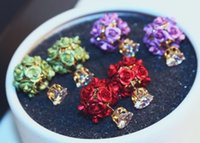 lindas rosas roxas venda por atacado-Muito bonito designer de moda rosas flor diamante zircão brincos para mulher verde vermelho roxo