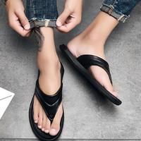 Wholesale latest leather sandal for sale - Group buy Latest The Fashion Flip flops Leather Slippers Popular Summer Sandals Men Hot Black Shoes