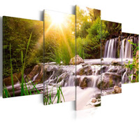 Wholesale natures pictures resale online - No Frame Canvas Print Modern Nature Forest Waterfall Landscape Sunrise Trees Picture on Canvas for Home Decoration