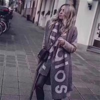 Wholesale autumn color scarves resale online - New Scarf for Autumn and Winter in America in Foreign Trade Pure Color Letter Logo Scarf Cashmere like couple Scarf Shawl