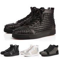 los zapatos claveteados liberan el envío al por mayor-Con la marca de diseñador de la marca Studded Spikes Flats Shoes Red Bottom shoes for Women Women Party Lovers zapatillas de deporte de cuero genuino 35-46 envío gratis