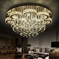 ingrosso lampadari a lampadario a fiori-Lampade a sospensione Luxury Modern Lustre K9 Crystal Led Lampadario a soffitto Fiore in acciaio cromato Dimmerabile Lampadario Illuminazione Luminarie