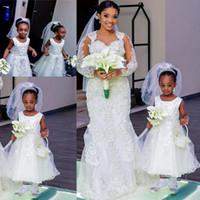 küçük kız siyah prenses elbiseleri toptan satış-Prenses Çay Boyu Çiçek Kız Elbise Düğün İçin Boncuk Aplikler Jewel Küçük Siyah Kız Doğum Günü Partisi Kıyafeti Kız Pageant Elbise