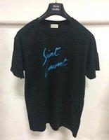 etiquetas de ropa de marca al por mayor-Summer Luxury Designer hombres Camisetas Paris / SLP Letter Print Camisetas Fashion Brand Clothing Lauren tags mujeres Camisetas de manga corta Tops
