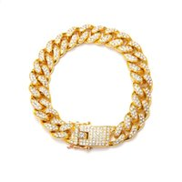 Wholesale bracelet 12mm wide resale online - 3pcs European and American fashion domineering MM Wide Mens Iced Out Cuban Link Bracelet k Gold Plated Men Birthday Party Gift C