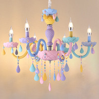 Wholesale bedroom lamps european resale online - Rainbow Crystal Chandelier European Candle lustres Restaurant Bedroom Children s Room American Girl Princess Makaron Lamps AC V
