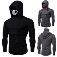 uzun kollu kafatası hoodies toptan satış-Tasarımcı tişörtleri Erkekler kış yeni tek kazak kişilik oyun hoodies kafatası baskı yüksek yaka uzun kollu WGWY190 2019 erkek
