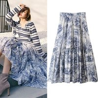 mujeres pintando faldas al por mayor-Nuevo diseño del otoño de las mujeres de la cintura elástica pintura en tinta china de estilo retro imprimir gran expansión falda larga S M L