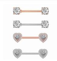 mücevher pircing toptan satış-2 adet / grup Temizle CZ Kristal Kalp Meme Halkası Halter Meme Piercing Mamilo Seksi Kadınlar Meme Yüzükler Kapak Pircing Vücut takı