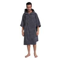 toalha de banho com capuz para adultos venda por atacado-Mudando Robe Toalha De Banho Adulto Com Capuz Toalha De Praia Poncho Roupão De Banho Das Mulheres Homem Toalha De Banho Com Capuz Toalhas De Praia