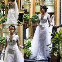 Wholesale nigeria white satin wedding dresses for sale - Group buy 2019 Luxury Beaded Long Sleeves Mermaid African Wedding Dress with Detachable Train South Africa Plus Size Nigeria Wedding Gowns