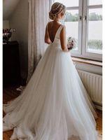 satin gürtel bögen groihandel-Vestidos De Novia 2019 Open Back Tüll Brautkleid Lange elegante Satin Hochzeit Boho Brautkleider mit Schleifengürtel