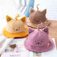 Wholesale cat basin for sale - Group buy Cartoon Cat Ear Hat Print Knit Thicken Foldable Children Caps Sports Warm Cap Fisherman Basin Caps Winter Hat Czapki Zimowe