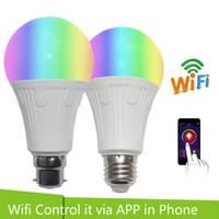 ingrosso rgb 7w remoto-Smart LED Bulb 7W RGB Led Light Remote Controller Dimmerabile WiFi Smart Light Bulb Lamp Wake-Up Lights Lampadina LED Alexa Voice Control