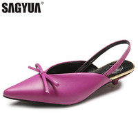 Wholesale sexy strappy green heels online - Fashion Summer Women Lady Casual Pointed Toe Sexy Bowknot Low Dwarf Stiletto Heels Slippers Mules Back Strappy Sandal T607