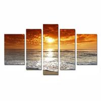 plaj soyut tuval duvar sanatı toptan satış-Tuval Baskı Duvar Sanatı Resim Resimleri Ev Dekorasyonu Soyut Plaj Günbatımı