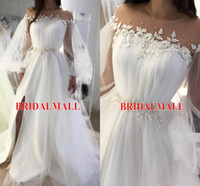 Wholesale blue jewel dress slit side for sale - Group buy White Appliques Tulle Long Sleeves Evening Dresses With Pearls Sash Sheer Neck Formal Party Gowns Sexy Side Slit Celebrity Prom Dresses