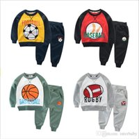 Wholesale baby baseball sleeves for sale - Group buy Kids Boys Clothes Baby Baseball Rugby Clothing Sets Girls Cotton Hoodie Pants Suits Long Sleeve Coat Trousers Sportswear Suits AYP5675