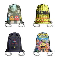 Wholesale cartoon clear backpacks for sale - Group buy Pac man Crossing Beatles Abbey Cartoon Printing Unicorn Drawstring Bags non woven pony Backpack students Shoulder storage pouch cute for