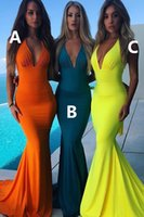 ingrosso abiti arancioni neri-Nuovo Teal Orange Mermaid Prom Dresses Deep PluggingTight Boho Black Girls Laurea Backless Prom Dress Abiti da sera Cheap accappatoi di soirée
