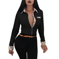 eski bluzlar toptan satış-Sıcak Klasik Ekose Gömlek Kadın Yeni Bahar Sonbahar Pamuk Kazak Rahat Yaka Vintage Izgara Uzun Kollu Kadın Tek Göğüslü Bluz