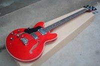 e-gitarre halb hohl links großhandel-Neue 4-saitige Semi-Hollow-E-Bassgitarre für Linkshänder mit Chrombeschlägen, Palisander-Griffbrett und Karosserie-Bindung
