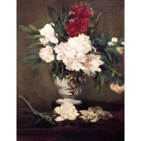ingrosso dipinti floreali di peonies-Famosi fiori dipinti di Edouard Manet tela artwork Vaso di peonie su un piccolo piedistallo dipinto a mano di alta qualità
