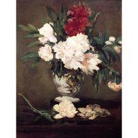 pinturas de peônias florais venda por atacado-Pinturas de flores famosas por obra de arte de lona de Edouard Manet Vaso de peônias em um pequeno pedestal pintados à mão alta qualidade