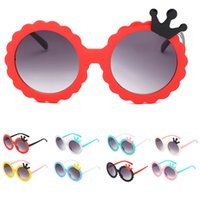 taç gözlükleri toptan satış-TTLIFE Sevimli Taç Şekli Çocuk Güneş Gözlüğü Polarize Çocuk Bebek Güvenliği Kaplama Güneş Gözlükleri Yuvarlak Uv400 Gözlük Shades Bebek Yuvarlak